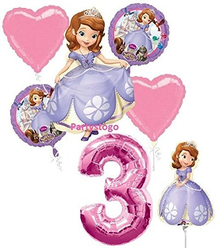 DISNEY PRINCESS SOFIA THE FIRST 3RD BIRTHDAY PARTY BALLOONS DECORATIONS WITH 16