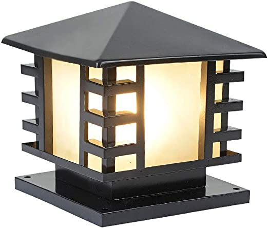 LYXJX Lámpara de Sobremuro para Exteriores Farola de Exterior, Lámpara para Pilar, Iluminación E27 Para Exteriores e Impermeables, Luces Decorativas para Jardín Y Terraza, Patio, Muro, Escalera,Blacka: Amazon.es: Iluminación