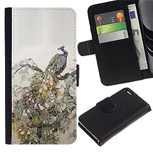 Apple iPhone 4 / iPhone 4S Modelo colorido cuero carpeta tirón caso cubierta piel Holster Funda protección - Feathers Bird Vintage Wallpaper