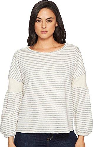 Splendid Women's Cubist Active Sweatshirt, Natural Stripe, - Sweatshirt Terry Splendid