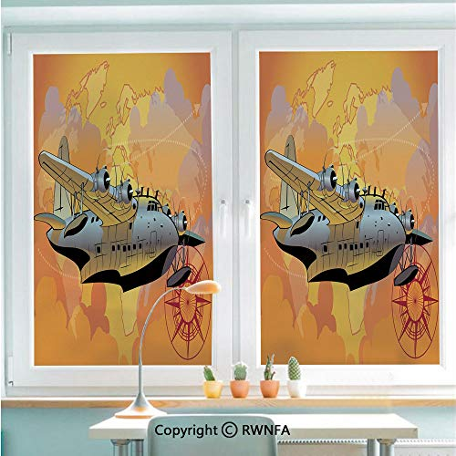 Removable Static Decorative Privacy Window Films Retro Seaplane in Sky World Map Compass Adventure Travel Journey Decorative for Glass (22.8In. by 35.4In),Multicolor