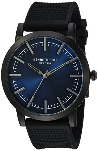 Kenneth Cole New York Men's 'Slim' Quartz Stainless Steel and Silicone Dress Watch, Color:Black (Model: 10030808)