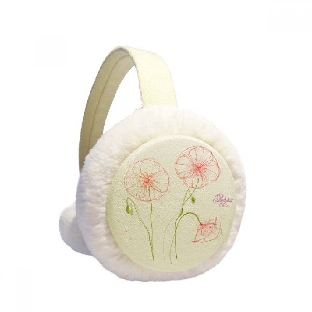 Flowers Plant White Poppy Painting Winter Earmuffs Ear Warmers Faux Fur Foldable Plush Outdoor Gift