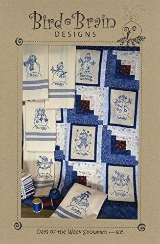 Pattern Kingsley (Days of the Week Snowmen Embroidery Pattern by Robin Kingsley from Bird Brain Designs 835)