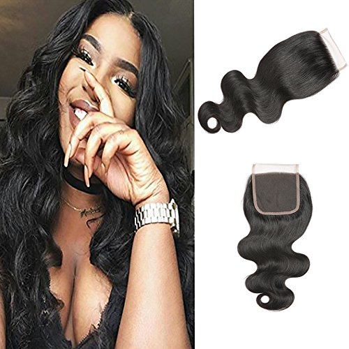 Mironica Hair 7A Body Wave Brazilian Hair Brazilian Body Wave 4x4 Lace Closure Natural Color (20inch) by Mironica Hair