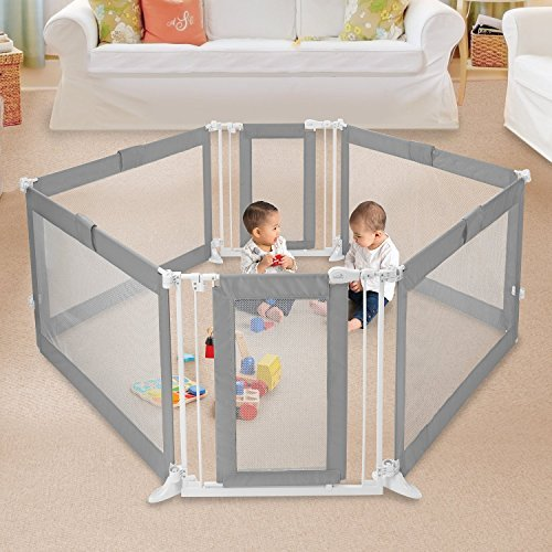 Walk Thru Cage - Summer Infant Grey Custom Fit Walk-Thru 6-Panel Playard