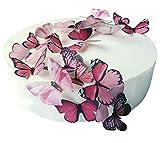 24 X PRE-CUT BEAUTIFUL MEDIUM PINK BUTTERFLIES EDIBLE RICE / WAFER PAPER PRE CUT CUPCAKE CAKE...