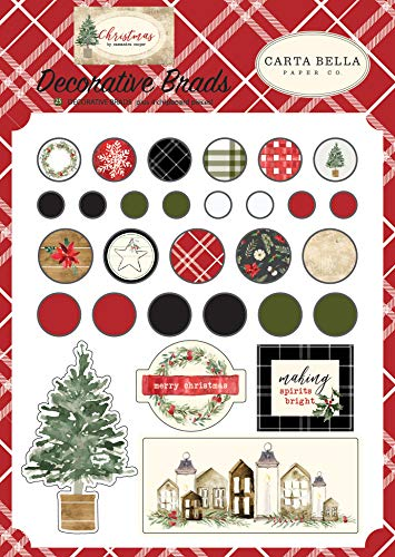 - Carta Bella Paper CBCH89020 Christmas Decorative brads, Red/Green/Black/Tan