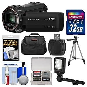 Panasonic HC-V770 Wireless Smartphone Twin Recording Wi-Fi HD Video Camera Camcorder with 32GB Card + Case + LED Light + Tripod + Kit