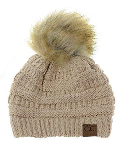 NYFASHION101 Exclusive Soft Stretch Cable Knit Faux Fur Pom Pom Beanie Hat - Dark Beige