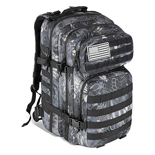MEWAY 42L Military Tactical Backpack Large Assault Pack 3 Day Army Rucksacks Molle Bag Outdoors Hiking Daypack Hunting Backpacks (Python)