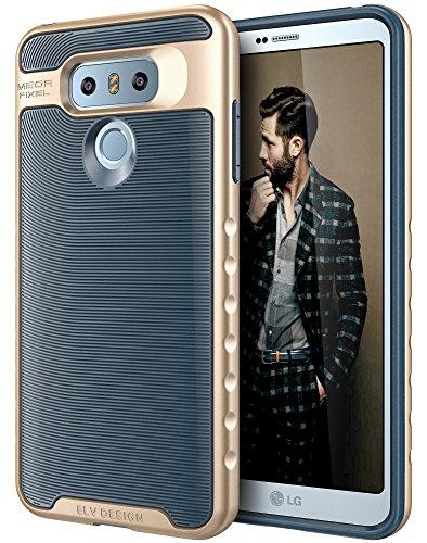 LG G6 Case, E LV LG G6 - Hybrid [Scratch/Dust Proof] Armor Defender Slim Shock-Absorption Bumper Case for LG G6 (2017) - [Dark Blue/Gold]