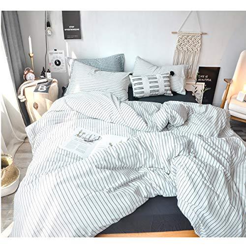 (FOSSA Washed Cotton Duvet Cover Set Queen 3 Piece Bedding Sets Soft Wrinkled Striped Design (Queen, White&Black Stripes))