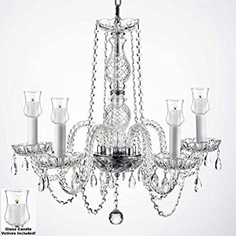 Crystal Chandelier Lighting Chandeliers W/Candle Votives H.25 W.24 ...