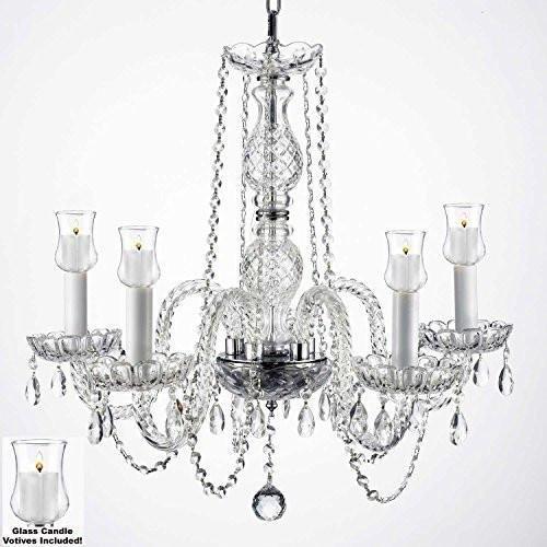 Crystal Chandelier Lighting Chandeliers W/Candle Votives H.25 W.24 For Indoor/Outdoor Use! Great for Outdoor Events, Hang from Trees/Gazebo/Pergola/Porch/Patio/Tent !