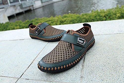 Cuir ZFNYY Correspondant Couleur Shoes Respirant Eye Chaussures en 355 Mesh Légère Été Green Véritable Décontractée fttrqz