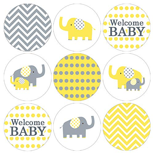 Yellow and Gray Elephant Baby Shower Favor Labels - 180 Stickers (Baby Shower Party Favors Yellow)