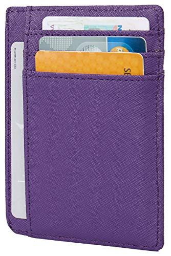 (Linscra Small Genuine Leather RFID Blocking Minimalist Wallet Credit ID Card Holder Travel Slim Pocket Wallet Money Clip Men Women, Purple)