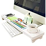 Eco-Friendly Wood Plastic Desktop Organizer Over the Keyboard for Home Office Ivory