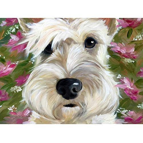 (DIY Diamond Embroidery White Scottish Terrier,5d Full Diamond Painting Diamond Mosaic Picture,Rhinestone Cross-Stitch Flower Home Decor(24x34cm))