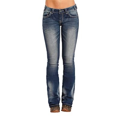 8655530c Rock & Roll Cowgirl Rival Low Rise Bootcut Leather Lurex Jean (26x34 ...