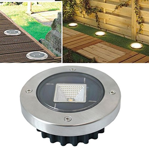 Joint LED Solar Power Buried Light, LED Solar Power Buried Light Under Ground Lamp Outdoor Path Way Garden Decking (Yellow)
