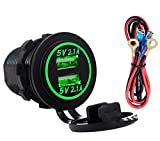 Best Car Charger With Green LED - Dual USB 4.2A Charger Socket 12V/24V Waterproof Power Review