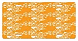 zaeshe3536658 Orange License Plate, TropicaFishes Sea Stars Stylized Cute Blossoms and Leaves Jellyfish Ocean Marine, High Gloss Aluminum Novelty Plate, 6 X 12 Inches, Orange White