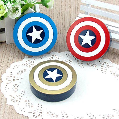 Plastic Portable Mini Captain America Cosmetic Contact Lens Case Travel Box Eyewear Accessories With Mirror Contact Lens Case Cute - America Best Eyewear