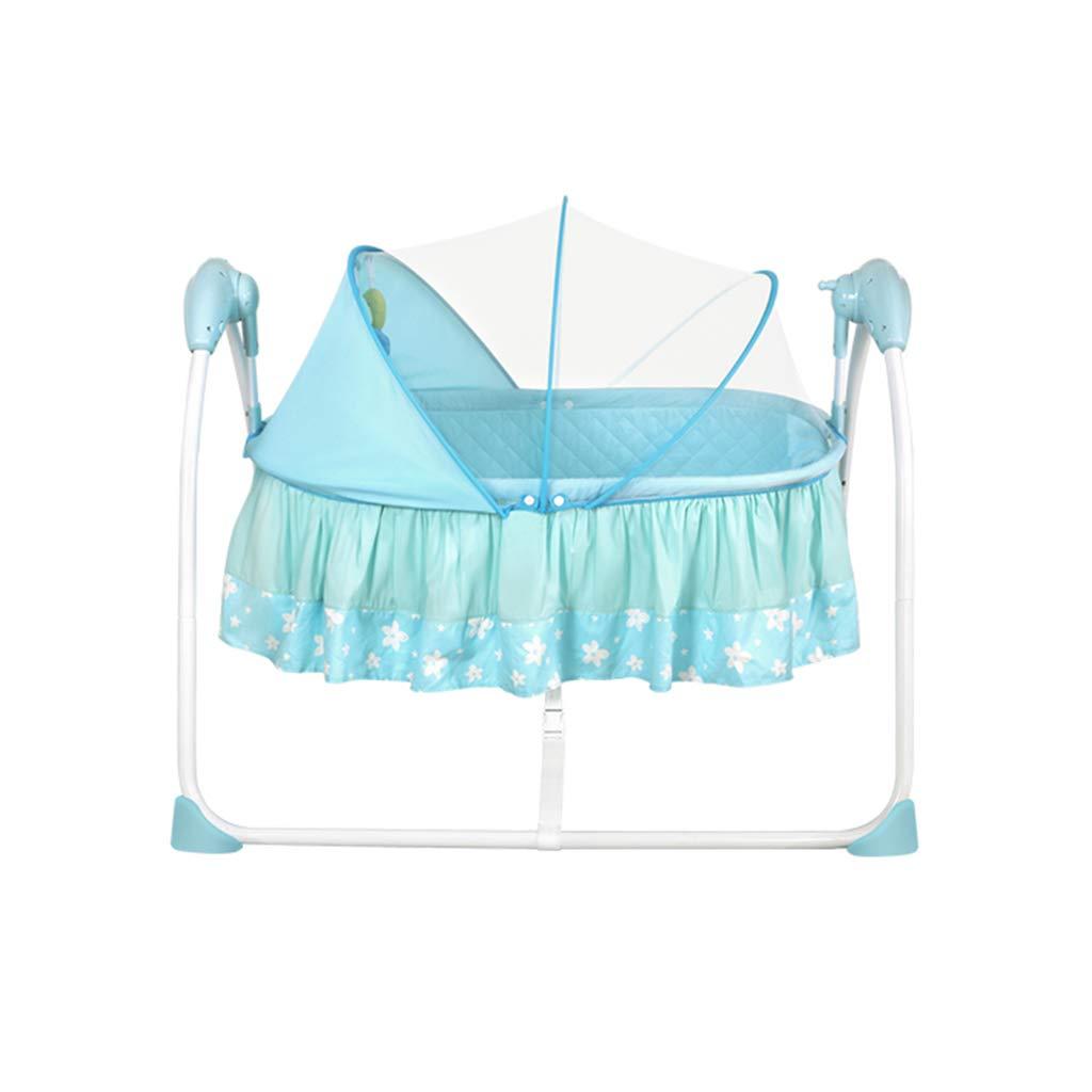 電気揺りかごベッド、赤ちゃんはベッドスリーピーシェーカー子供部屋蚊帳ベビーベッド、104 * 80 * 75センチメートル (色 : 青)  青 B07MR2X6GJ