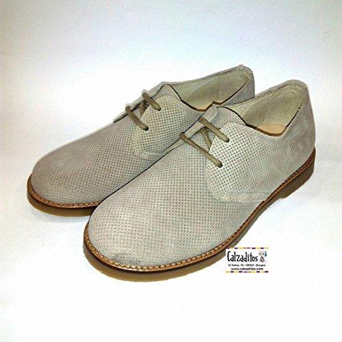 b2ad8cbb6 Zapatos Tipo Blucher de Piel Serraje Color Taupe para niño