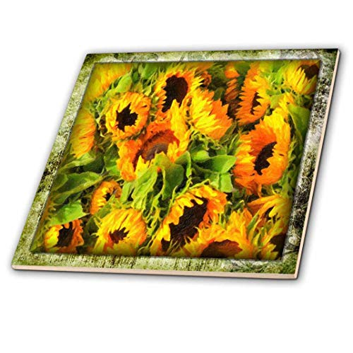 3D Rose Painted Sunflowers Ceramic Tile Multicolor ()