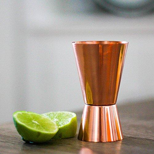 SouvNear Pure Copper Cocktail Jigger - 1oz (30ml) over 2oz (60ml) Shot Glasses - Bar Accessories