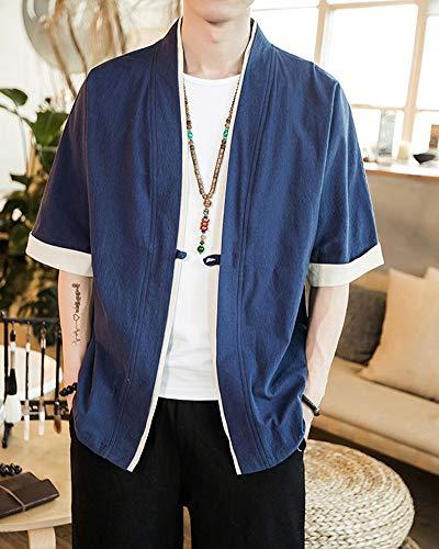 PengGengA Mujeres Kimono Cárdigan Armada Verano Chinese Japón Kimono Capa Jacket para Style Hombres Casual Cloak rrTwaqp