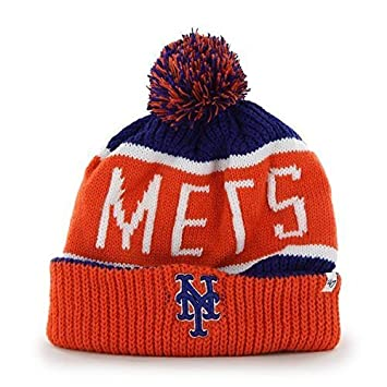 New York Mets Orange Cuff  quot Calgary quot  Beanie Hat with Pom - MLB  Cuffed 992f5e6a046