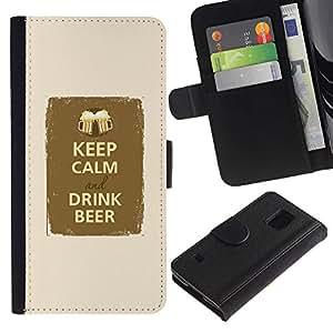 Planetar® Modelo colorido cuero carpeta tirón caso cubierta piel Holster Funda protección Samsung Galaxy S5 V SM-G900 ( Keep Calm Drink Beer Party Fraternity )