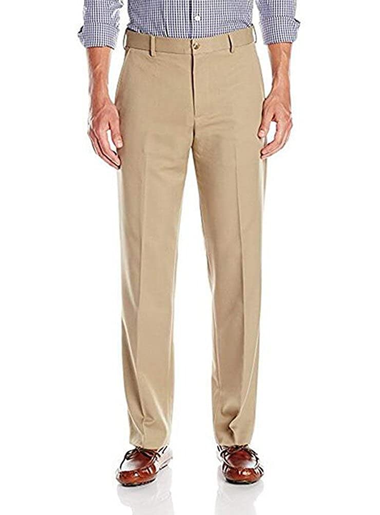TOPG Mens Casual Pants Flat Front Solid Dress Pants Traveler Slim Fit Pant Separates