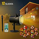 Christmas Projector LED Light, CACAGOO Halloween 12 Patterns LED Projector Light Outdoor Projector Light with Remote Control for Birthday Pa
