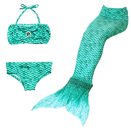 12 Swimming Costumes Old Year (3PCS Kids' Girls' Swimsuit Mermaid Tail for Swimming Children Princess Costume Cosplay Swimwear Two Piece Bikini Set Match Monofin 3-12 Years Multi-Colors)