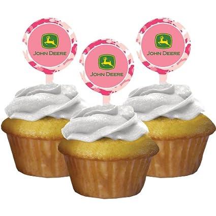 Amazon Com John Deere Pink Cupcake Picks 12ct Kitchen Dining