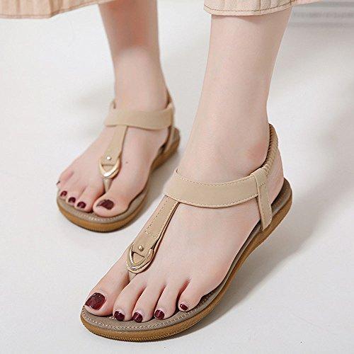 Clip Coloré Plage Perlées Beige Sweet Chaussures Sandales Sandales Sandales de Femmes Tongs Bohemia Summer Femme TM Toe gvqgr