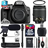 Holiday Saving Bundle for D3300 DSLR Camera + AF-P 18-55mm + Battery Grip + 2yr Extended Warranty + 32GB Class 10 Memory Card + 72 Monopod + UV Filter + Cleaning Kit - International Version