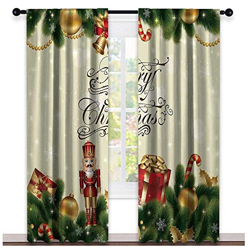 (hengshu Christmas, Sound Curtains Noise Reducing, Noel Ornaments with Birch Branch Cute Ribbons Bells Candy Canes Art Image, Curtains Girls Room, W72 x L96 Inch Golden Red Green)