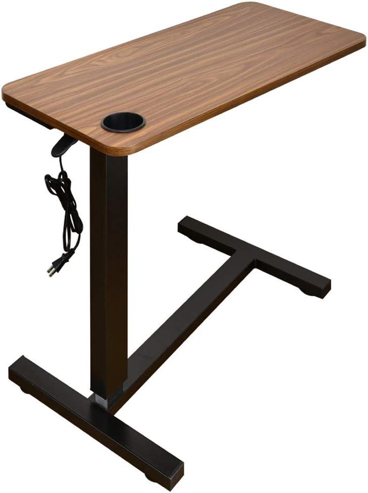 [コンセント/USB/カップホルダー付き]オーバーテーブル サイドテーブル レジェンド-ART ガス圧昇降式 プレゼン 介護 ベッドサイド ソファーに大活躍[LuckyBed] (ウォールナット)