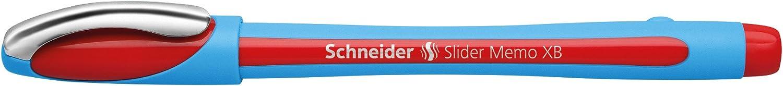Schneider Slider Memo XB Kugelschreiber mit Kappe, Strichst/ärke: XB, Made in Germany Rot, 6er