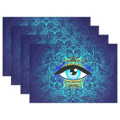 U-Life Sacred Eyes Halloween Mandala Vintage Plate Place Mats Placemats Placemat Tray Mat 12 x 18 Inch for Kitchen Dining Table]()