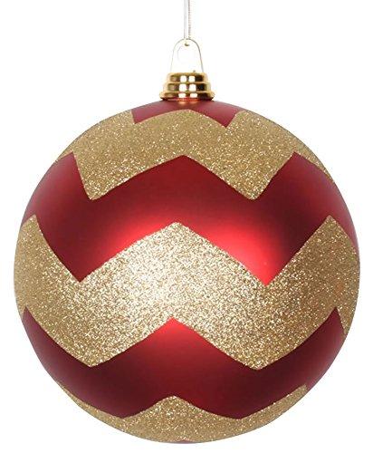 Vickerman Chevron Matte Finish Glitter Accented Shatterproof Christmas Ball Ornament, 8'', Red/Gold