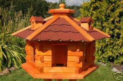 Deko Shop Hannusch Nr16 Nichoir A Oiseau Style Maison En Rondins De Bois Avec Lucarnes Toit Rouge