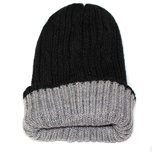 CAP HAT SKI REVERSIBLE UNISEX Alpaca Briads Handmade in Peru Black Grey dsg38