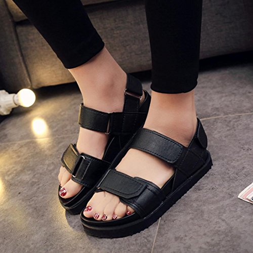 Fheavn Summer Flat Gladiator Women Flat Snadals Shoes Casual Buckled Ankle Strap Comfort Slide Wedge Sandals (US:7, White) Black